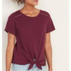 Old Navy Maroon Lace Trim Tie Front SS Top XL